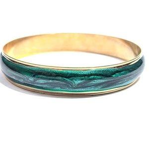 Vintage Emerald Swirls Avon Bangle